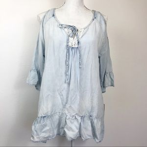 Signature Studio Blue Bleach  Ruffle Top M NWT